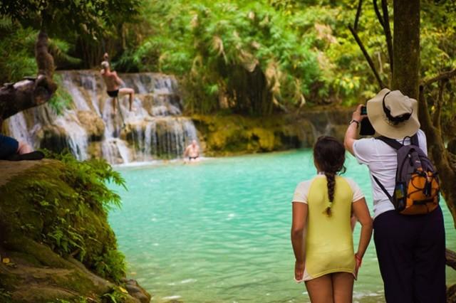 Tat Kuang Si Waterfall, Luang Prabang, Лаос